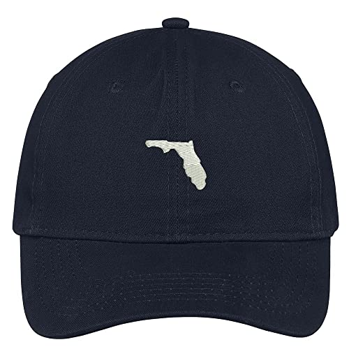 40ac3bca95c Trendy Apparel Shop Florida State Map Embroidered Low Profile Soft Cotton  Brushed Baseball Cap