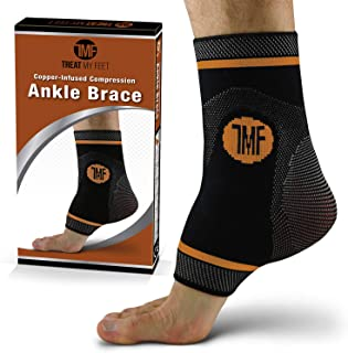 Ankle Compression Brace with Silicone Ankle Support and Anti-Microbial Copper. Plantar Fasciitis, Foot, Achilles Tendon Pain Relief. Prevent and Support Ankle Injuries & Soreness - L