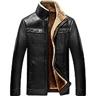 chouyatou Men's Winter Full... chouyatou Men's Winter Full Zipper Thick Sherpa Lined Faux Leather Jacket