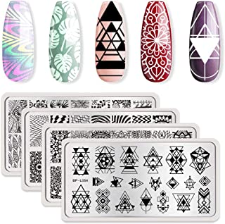 BORN PRETTY Nail Art Stamping Plates Kit- 4 Manicuring Plates DIY Leaves Geometry and..