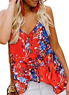 Women's Floral Print Button Down V Neck Strappy Tank Tops Loose Casual Sleeveless Shirts Blouses