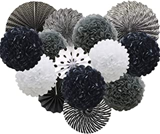 Black Hanging Paper Party Decorations, Round Paper Fans Set Paper Pom Poms Flowers for Birthday Wedding Graduation Baby Shower Events Accessories