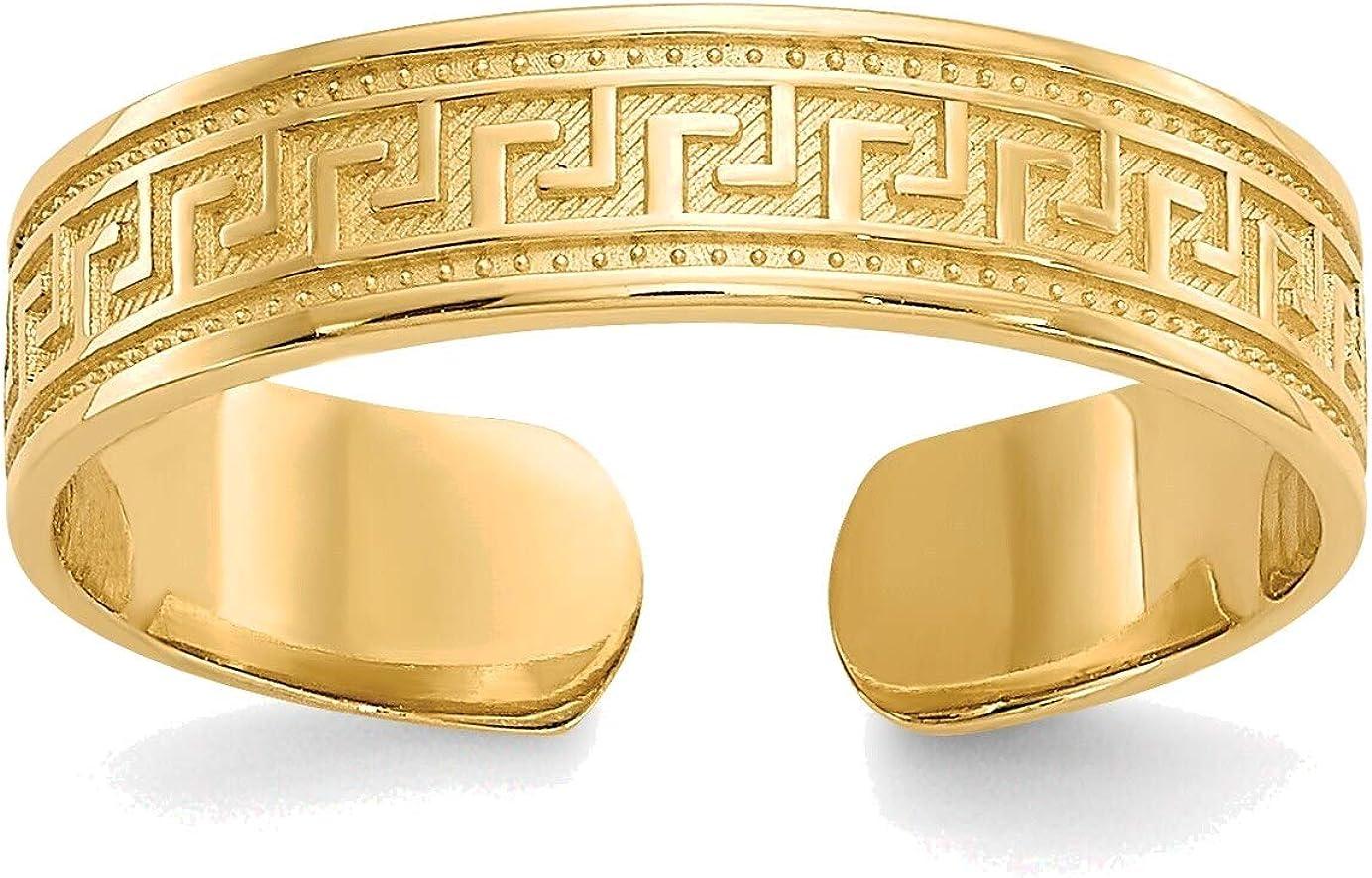 Bonyak Jewelry Greek Key Toe Ring in 14K Yellow Gold in Size 11