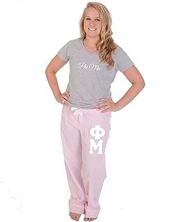 Phi Mu Pajama Pants Set Stripes (Stitched Greek Letters) (Phi Mu Clothing)