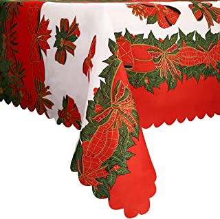 Phogary Christmas Square Tablecloth Bow-Knot Table Runner for Christmas Gatherings Indoor or Outdoor, Ribbon Traditions Fabric Christmas Holiday Tablecloth
