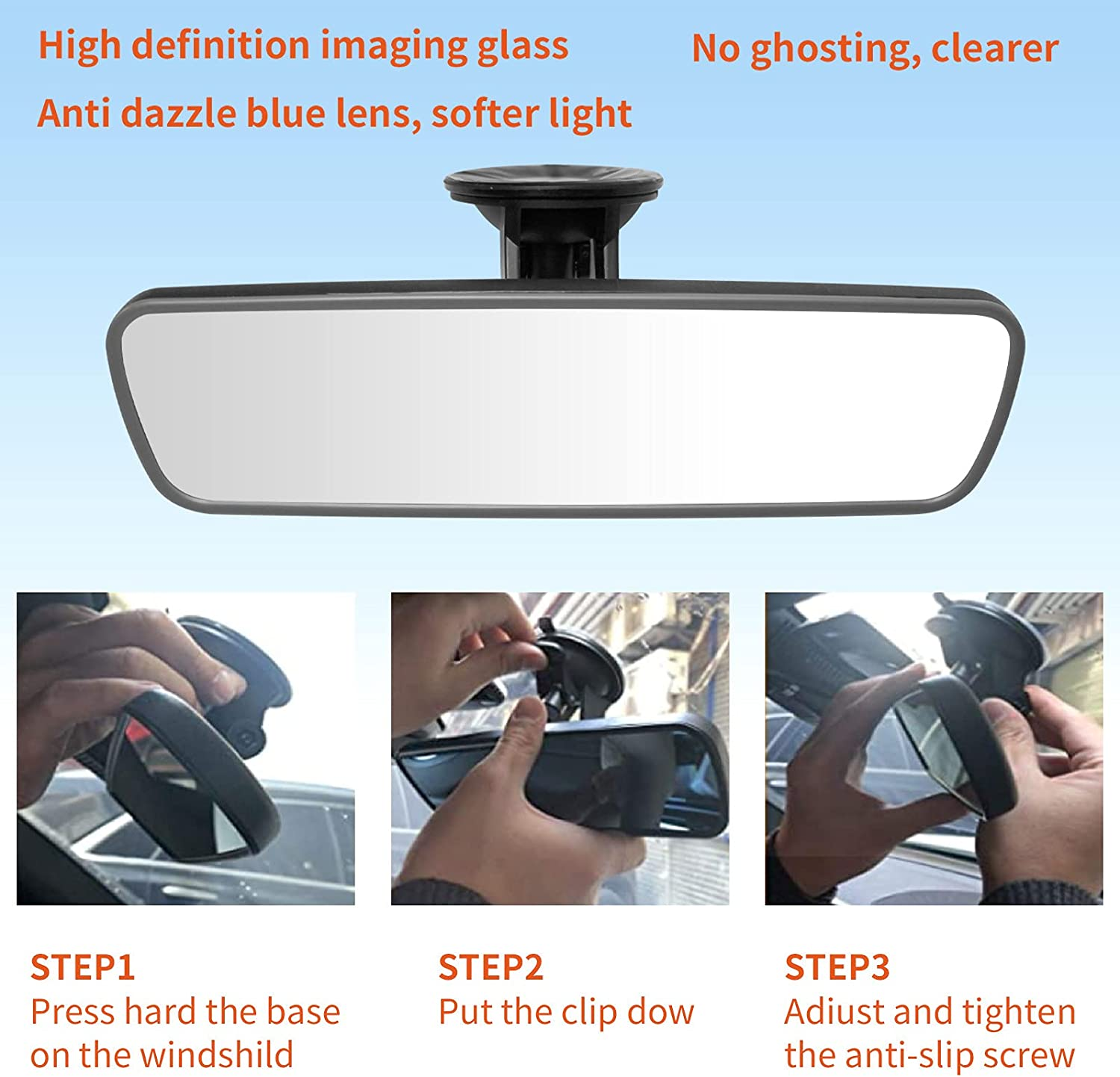 Buy NINGFIST Anti Glare Adjustable Suction Cup Rear View Mirror ...