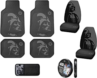 Star Wars Darth Vader with Galactic Empire Logo Front & Rear Car Truck SUV Seat Rubber Floor Mats & Universal Fit Bucket Seat Covers & Steering Wheel Cover & 10 CD/DVD Visor Organizer - 8PC