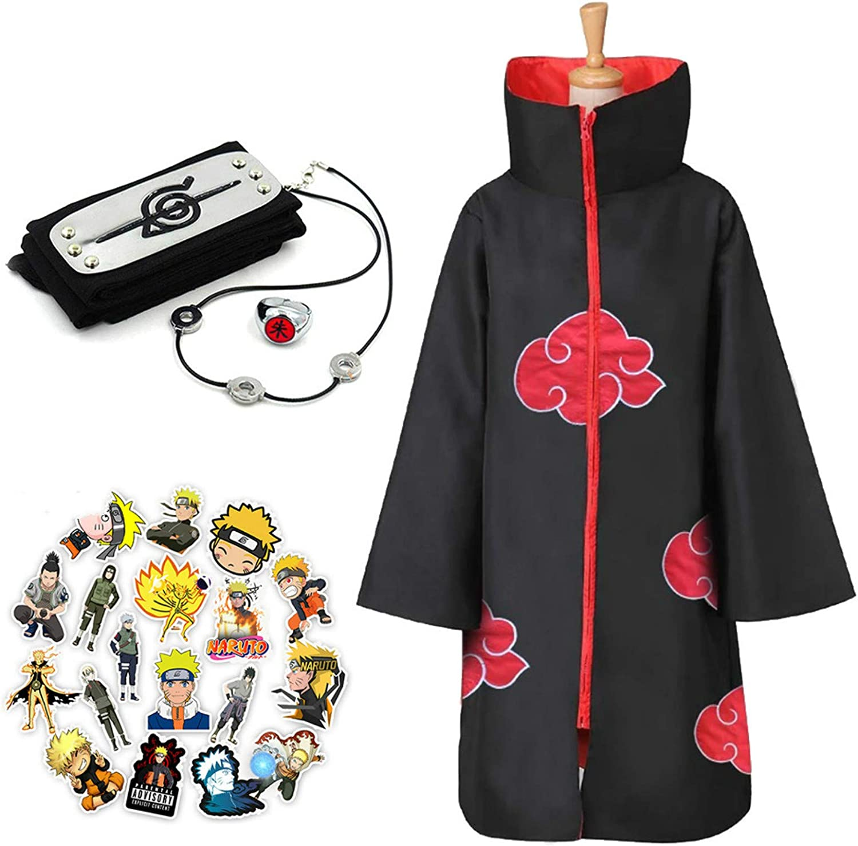Akatsuki Cloak Unisex Ninja Long Robe Halloween Cosplay Costume Uniform Itachi Capes with Anti Leaf Village Headband