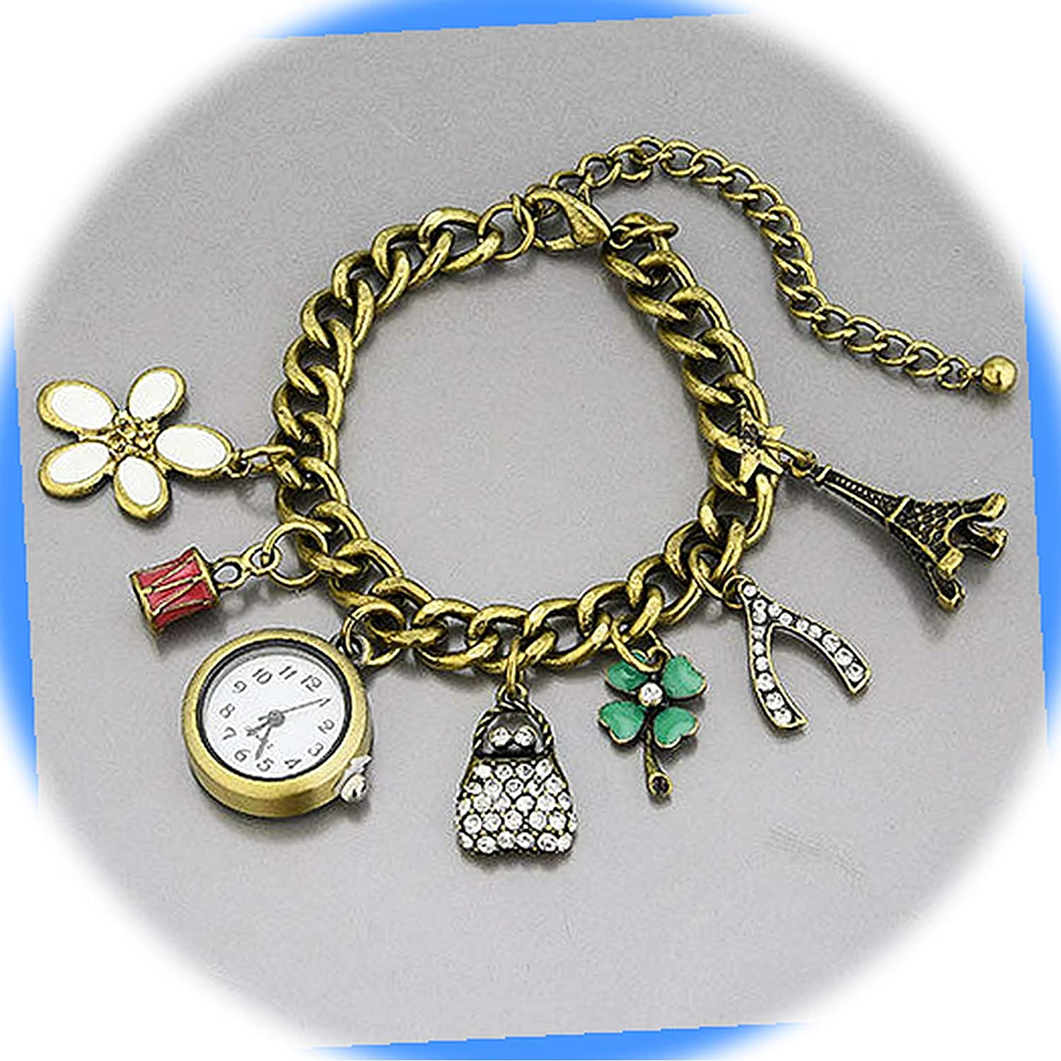 New Genuine Antique Gold Tone Color Chain Clover Four Flower Watch Max 65% OFF Leaf