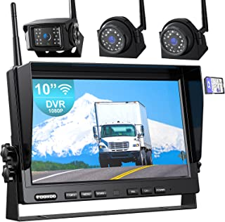 """$419 » Fookoo 1080P 10"""" Wireless Backup Camera System, 10"""" Quad Split Monitor with Loop Recording, IP69 Waterproof Rear&Side View..."""