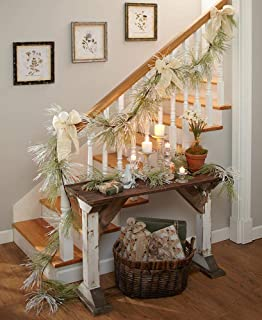 The Lakeside Collection Set of 2 Shimmering Pine Garland - Holiday Decoration with White Bows