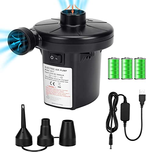 2021 Air new arrival Pump for Inflatables, Electric Pump Air Mattress Pump Rechargeable Battery discount Air Pump with 3 Nozzles Inflator/Deflator for Camping Inflatable Cushions, Air Mattress Bed, Air Sofa, Boat, Pool Toys online sale