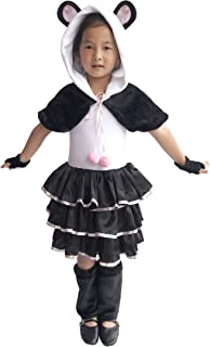Deluxe Girls Panda Costume & Accessories, Kid Toddler Black White Bear Halloween Dress-Up