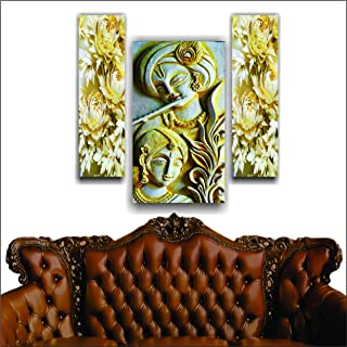 SAI creatives Multiple Frames, 3D Sculptured Radha Krishna Wall Painting for Living Room, Bedroom, Office, Drawing Room wi...