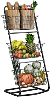 3 Tier Market Basket Stand,HOWDIA Fruit Baskets with Removable Baskets - Kitchen Organizer - Fruit Vegetable Produce Metal...