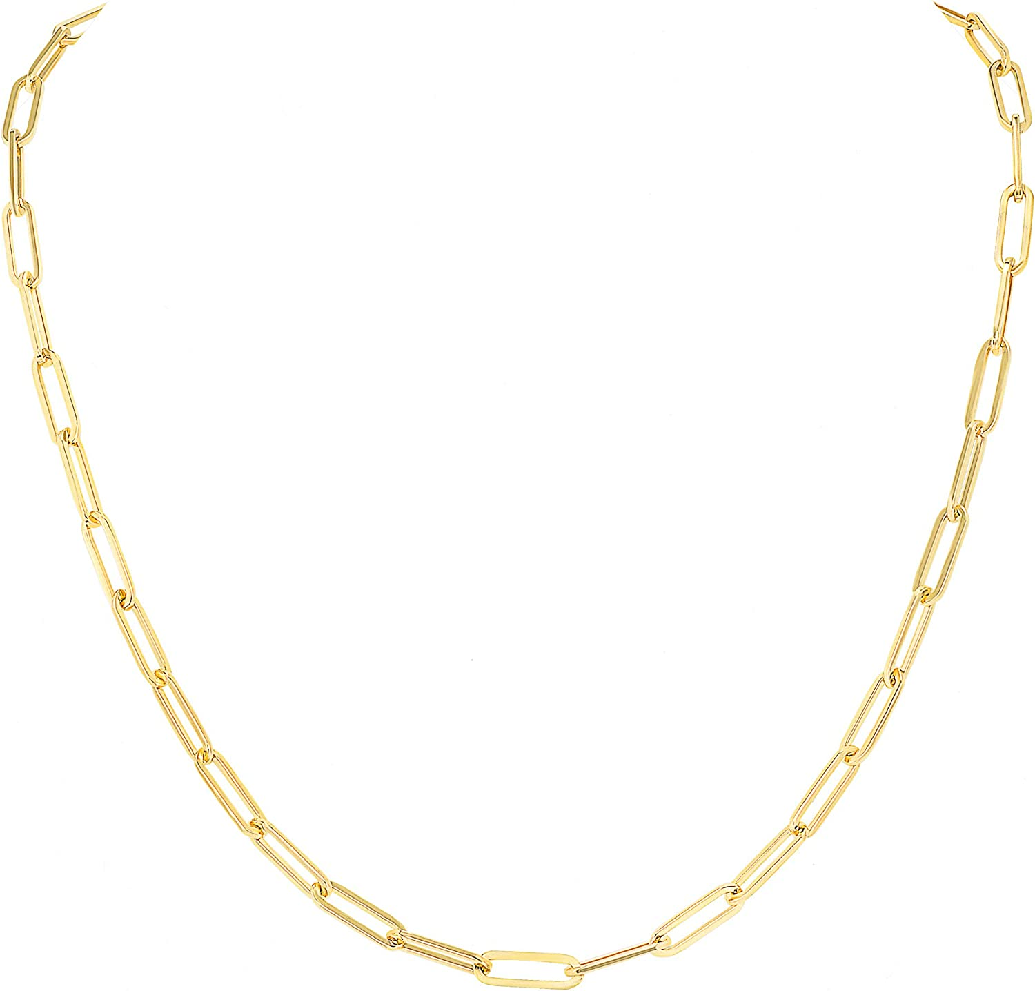Paperclip Chain Necklace 14k Gold – Real Yellow White Rose luxury Jewelry Pendant – Nice Women and Girls Gift - Available in Your Choice of Length 16'' to 36'' - Wide 4MM - Lobster Clasp