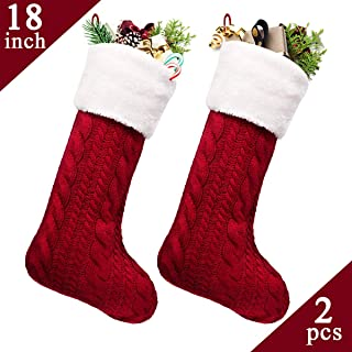 LimBridge Christmas Stockings, 2 Pack 18 inches Large Cable Knit Knitted Faux Fur Cuff, Xmas Rustic Personalized Stocking Decorations for Family Holiday Season Decor, White or Burgundy