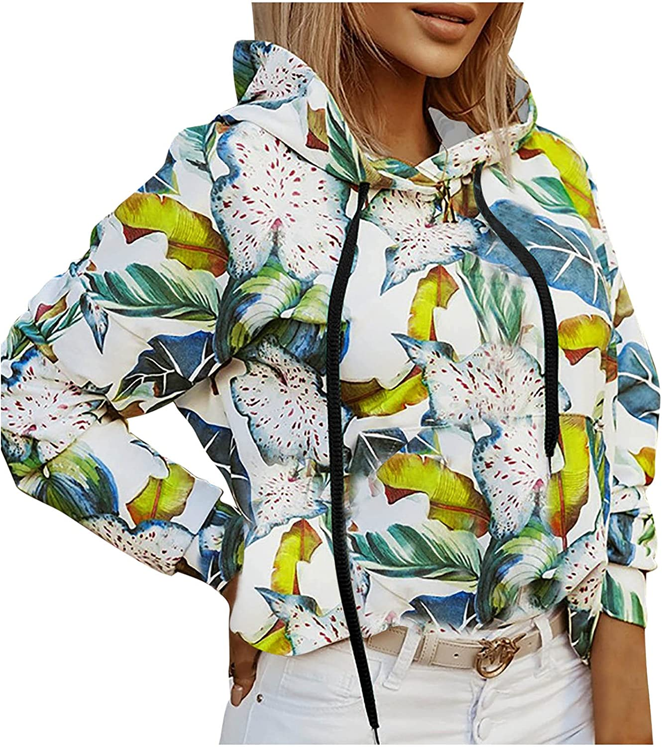 Women's Floral Graphic Hoodies Long Sleeve Sweatshirts Drawstring Pullover with Pocket Fashion Loose Shirts
