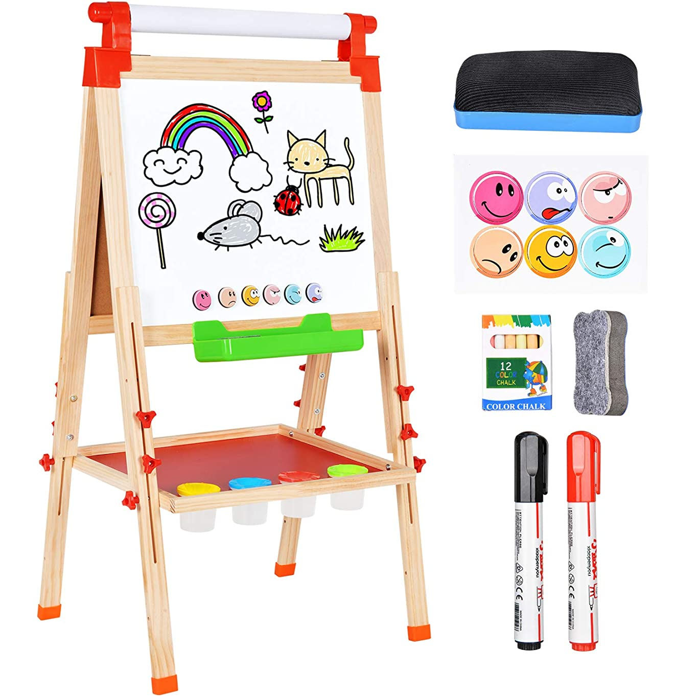 Amagoing 3 in 1 Wooden Easel for Kids, Double Sided Magnetic Black/White Board Toddler Art Easel Adjustable with Paper Roll