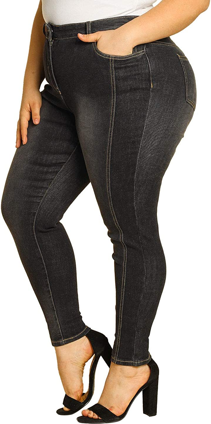 Agnes Orinda Women's Plus Size Stretch Mid Rise Washed Skinny Jeans