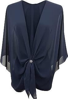 Womens Evening Dress Shawl Wrap Sheer Chiffon Cape and Scarf Ring Set