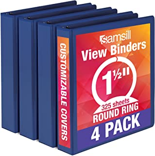 Samsill Economy 3 Ring Binder Organizer, .5 Inch Round Ring Binder, Customizable Clear View Cover, Dark Blue Bulk Binder 4...