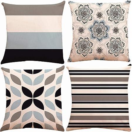 Cushion Cover Pillowcase Geometric 100/% Linen Sofa Car Throw Pillow Home Textile