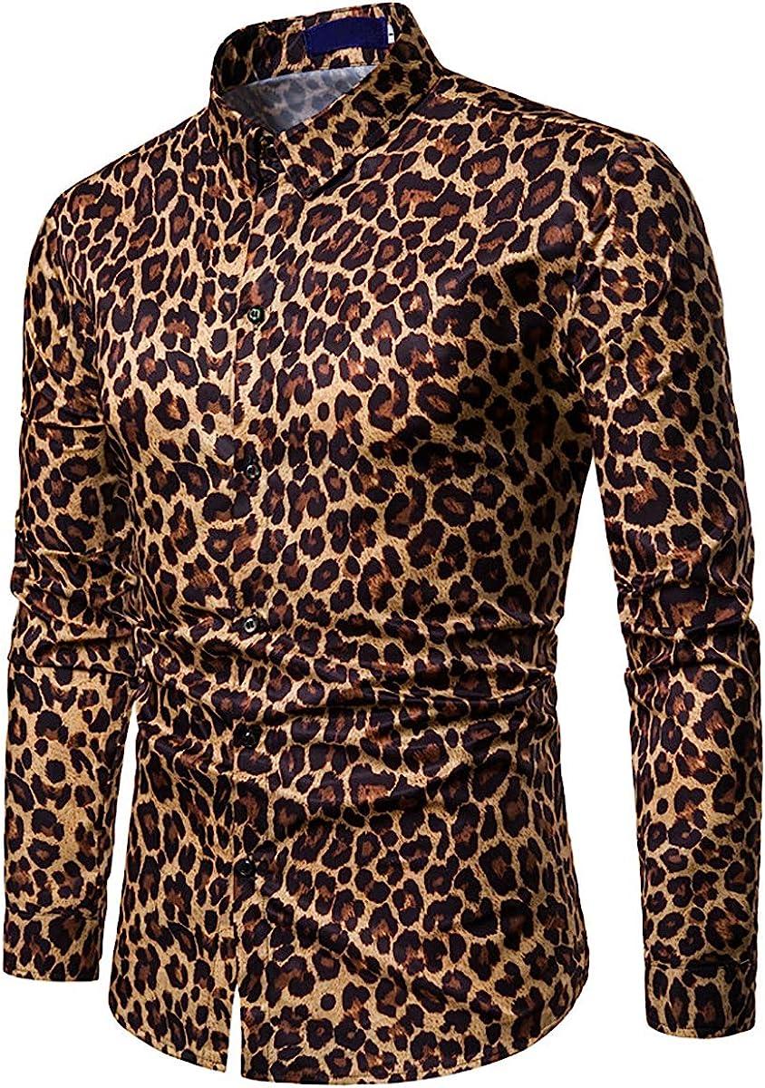Mens Long Sleeve Top Blouse Leopard Python Pirnt Casual Button Down Dress Shirt