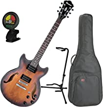 Ibanez Artcore AM73B Hollowbody Electric Guitar Tabacco Flat w/ Gig Bag, Stand, and Tuner