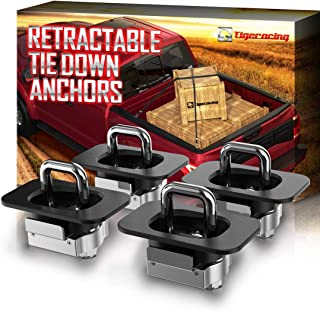 Tigeracing 99000A64 Tie Down Anchors Retractable Truck Bed Top Side D Ring - All Metal 3000 LBS Capacity (4 Pieces)