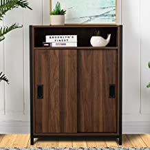 Glitzhome Floor Storage Cabinet with Doors and Shelves Modern Sideboard Kitchen Storage Cabinet Buffet Cabinet Freestandin...