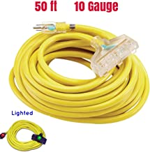 yellow jacket extension cord 10/3 50 ft 10 Gauge Extension Cord Heavy Duty Indoor Outdoor SJTW Lighted Extension Cord Century Contractor Copper Triple Tap Extension Cord (10 Awg Triple Outlet, 50 ft)