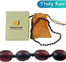Raw Baltic Amber Teething Necklace for Baby (Unisex - Raw Cherry - 12.5 Inches), 100% Authentic Unpolished Amber Necklace for Infant & Toddler Teething