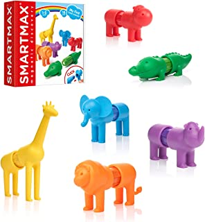 SmartMax My First Safari Animals STEM Magnetic Discovery Building Set with Soft Animals for Ages 1-5