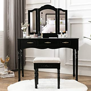 HONBAY 3 Drawers Makeup Vanity Table Necklace Hook Vanity Set Trifold Mirrors Dressing Vanity and Stool for Women Black