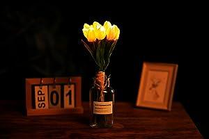 FLCSIed Artificial 12 LEDs Tulips Flower Led Lights Flower Pot ligths with 12 LEDs Flower Plants Centerpiece for Table Tulip Home Decor Warm White