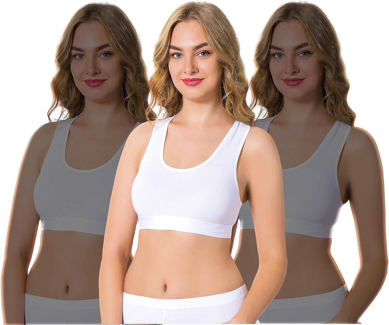 Pack of 3 Bra Arma 3 Packs of Lightweight Cotton Sport Bra for Women Comfy Style Cotton Bra Non Padded Bra