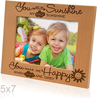 Kate Posh - You are my Sunshine, my only Sunshine, You make me Happy, when skies are grey - Engraved Solid Wood Picture Frame (5x7 Horizontal)