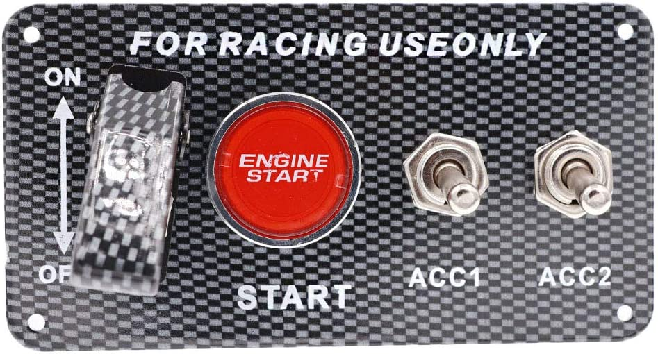 Racing Car Ignition Switch Panel 4 in 1 Engine Push Button Start Switch Panel DC 12V Red LED Carbon Fiber Toggle Switches for Race Car Sport Competitive RV Truck