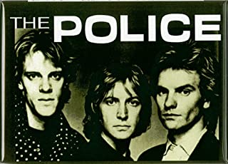 The Police - Band Face Shots and Logo on Green - Refrigerator Magnet
