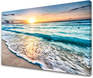 Baisuart S02269 Canvas Prints Wall Art Beach Sunset Paintings Ocean Waves Nature Pictures..
