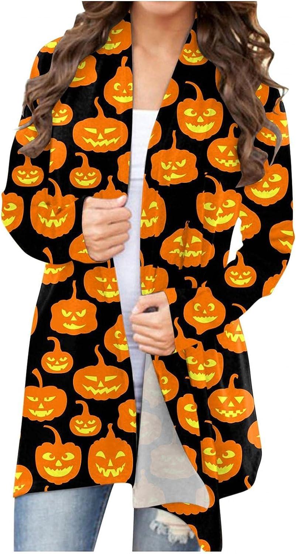 Masbird Halloween Cardigan for Women, Womens Cute Pumpkin Ghost Graphic Tops Long Sleeve Open Front Lightweight Coat