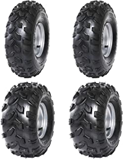 TDPRO 2x Front 19x7-8 & 2x Rear 18X9.5-8 Tubeless Tire With Rim for ATV Go Kart Quad Bike 4 Wheelers