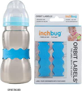 InchBug (4 Pack) Orbit Labels Personalized (Deep Sky Blue)