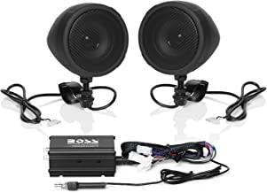 Boss Audio Systems MCBK420B Motorcycle Bluetooth Speaker System - Class D Compact Amplifier, 3 Inch Weatherproof Speakers, Volume Control, Great for Use with ATVs/Motorcycles, 12 Volt Vehicles