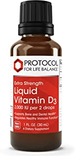 Protocol For Life Balance - Liquid Vitamin D-3 2,000 IU / 2 Drops - Extra Strength Formula Supports Calcium Absorption, Bo...