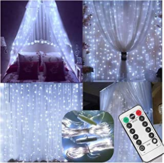 Curtain String Lights with Remote,Battery Operated,6.5ft x 6.5ft,200 LED Backdrop Icicle..