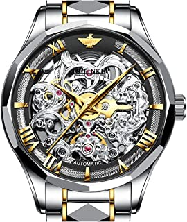 Swiss Brand Mens Automatic Watch Skeleton Watches for Men Japan Movement Leather Strap Self Winder Waterproof Mechanical W...
