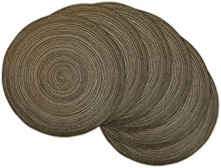 DII Round Woven, Indoor & Outdoor Braided Placemat or Charger, Set of 6, Brown