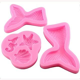 Mujiang Seashell Molds Mermaid Tail Mold Silicone Fondant Chocolate Molds (3Pcs/Set)